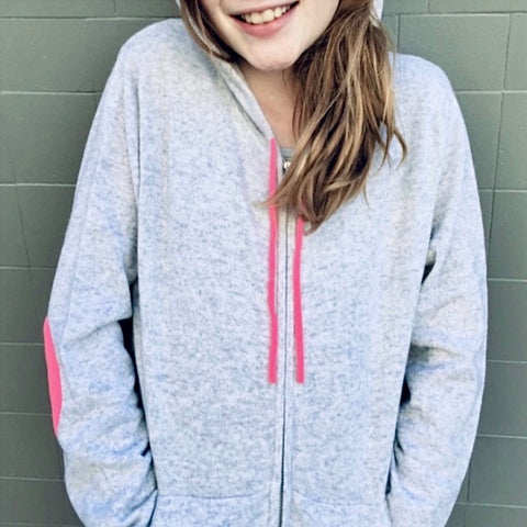 Cashmere Kids Hoody in Pale Marle Grey with Neon Pink - sonyahopkins.com