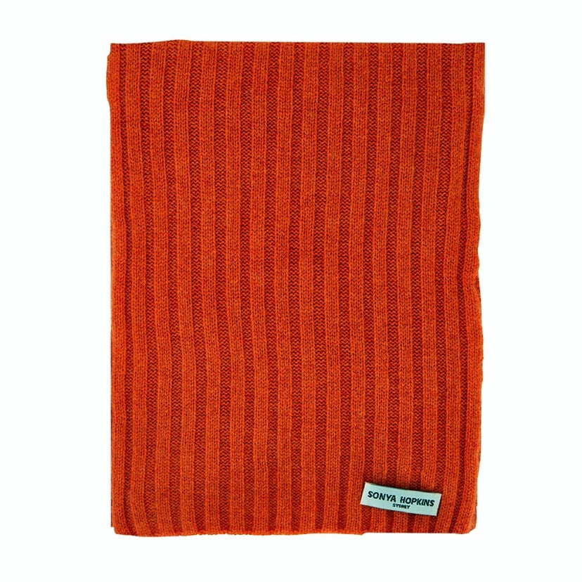 Sonya Hopkins 100% pure cashmere rib scarf in spice