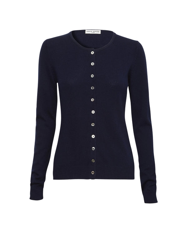 Silk + Cashmere Simone Cardigan in Navy - sonyahopkins.com