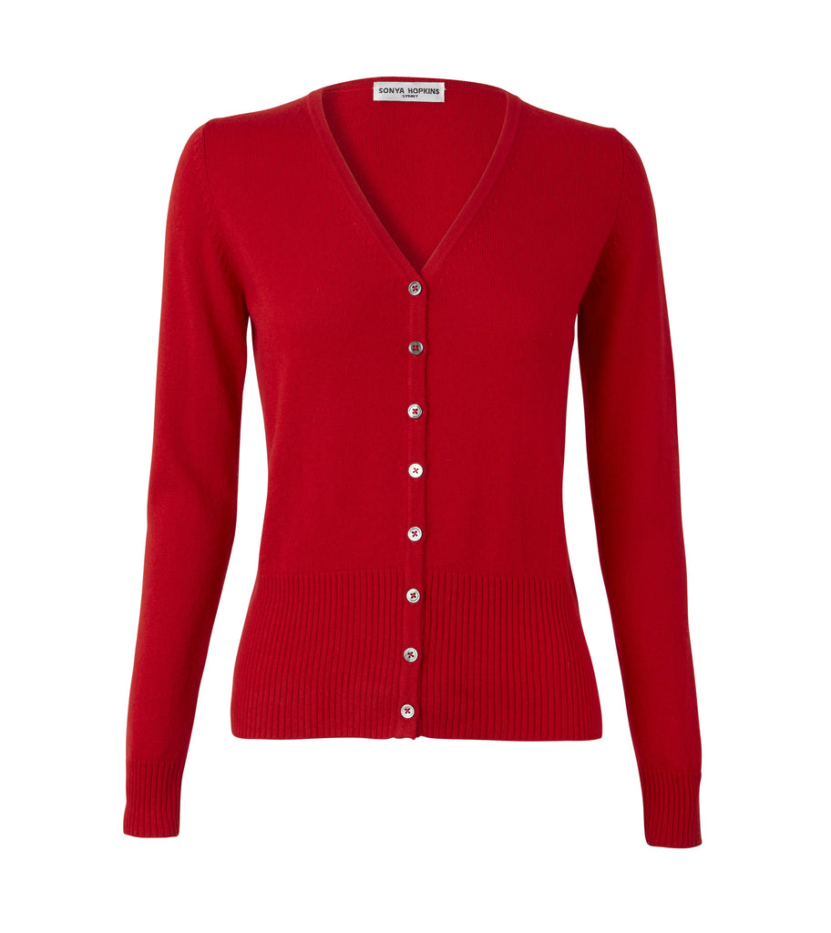 Silk + Cashmere Elizabeth Cardigan in Red - sonyahopkins.com