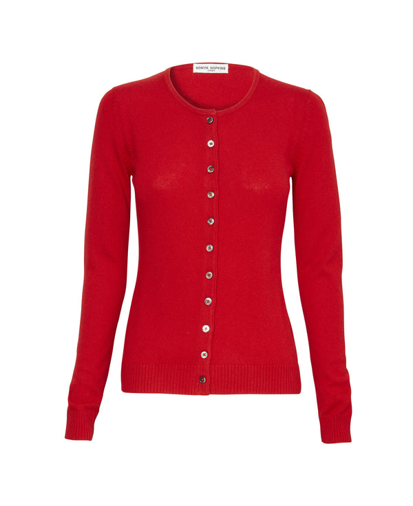 Silk + Cashmere Simone Cardigan in Red - sonyahopkins.com