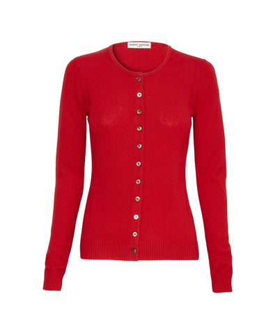 Simone Silk/Cashmere Cardigan in Red