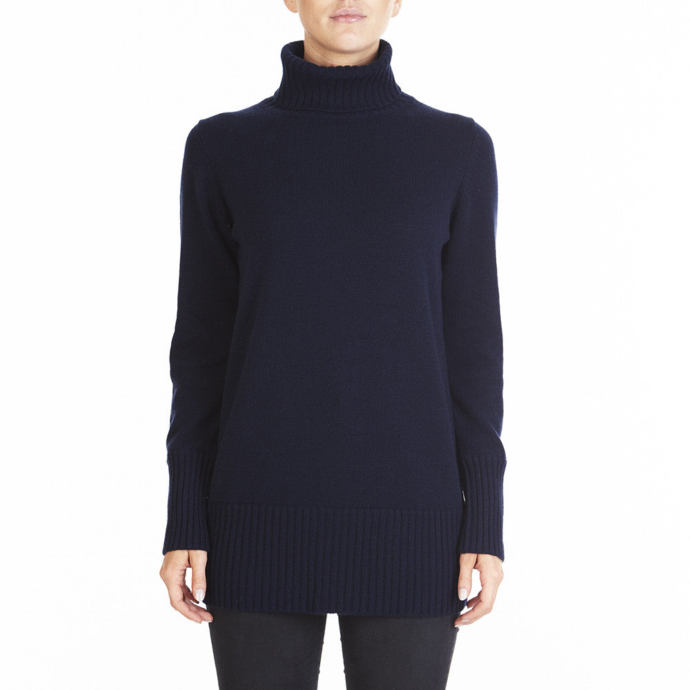 Cashmere Winter Warmer Long Turtleneck in Navy - sonyahopkins.com