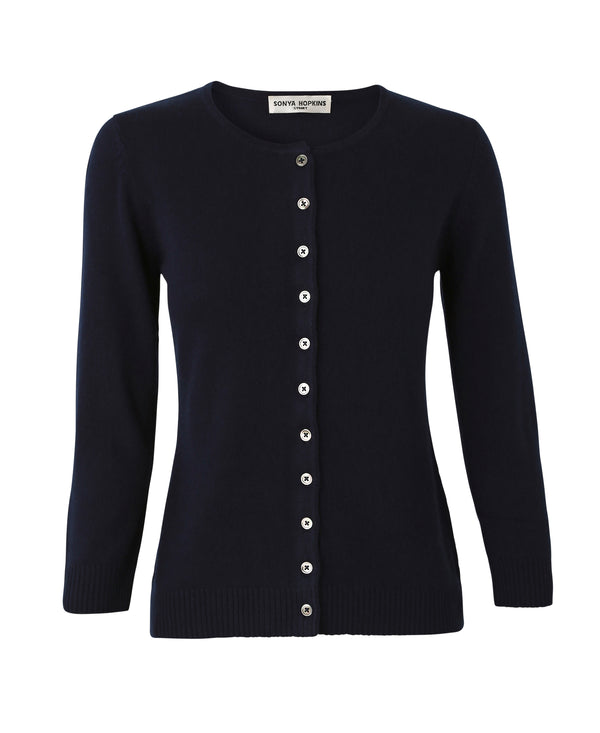 Silk + Cashmere Victoria Cardigan in Navy