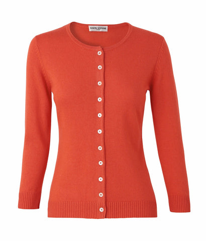 Silk + Cashmere Victoria Cardigan in Orange - sonyahopkins.com