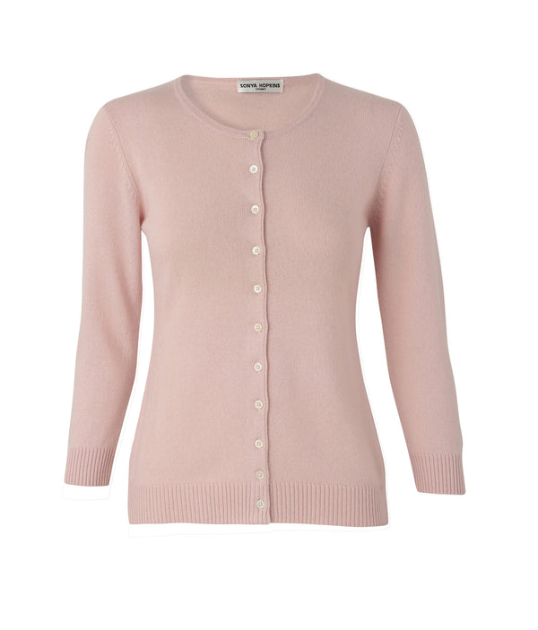 Silk + Cashmere Victoria Cardigan in Pale Pink - sonyahopkins.com