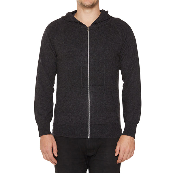 Cashmere Mens Hoody in Dark Charcoal Marle - sonyahopkins.com
