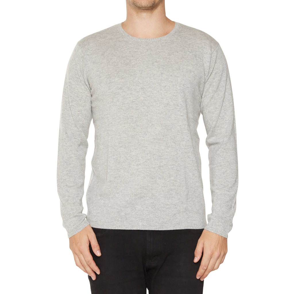 Cashmere Mens Jack Crew Neck in Pale Grey Marle - sonyahopkins.com