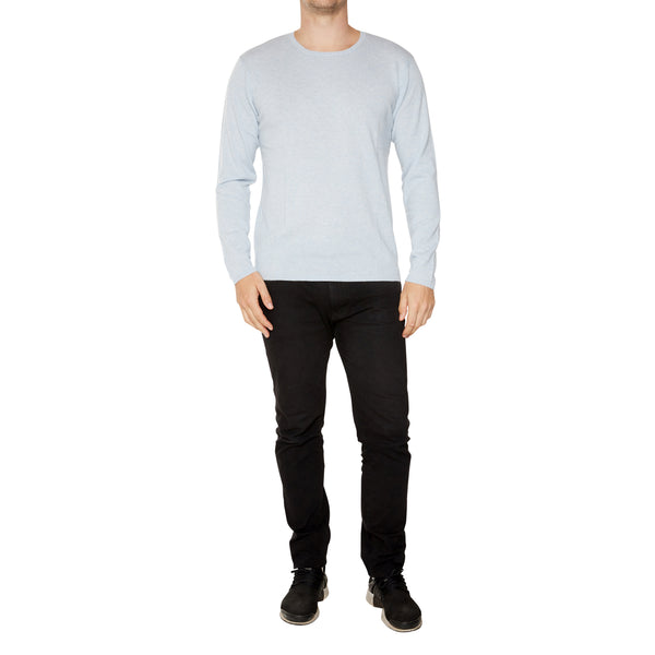 Cashmere Mens Jack Crew Neck in Pale Blue Marle - sonyahopkins.com