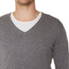 Cashmere Joe Mens V-Neck in Charcoal Marle - sonyahopkins.com