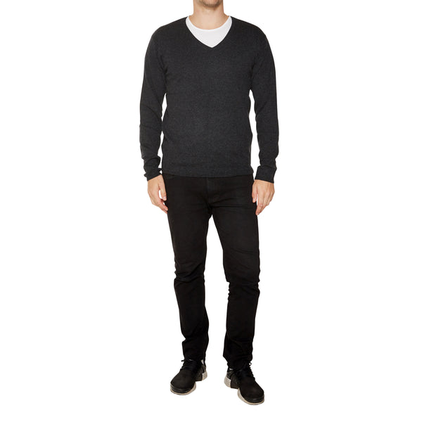 Cashmere Joe Mens V-Neck in Dark Charcoal Marle - sonyahopkins.com