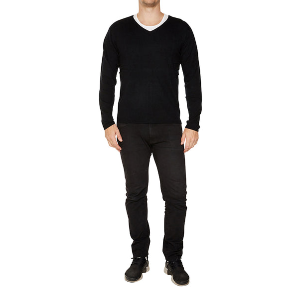 Cashmere Joe Mens V-Neck in Black - sonyahopkins.com