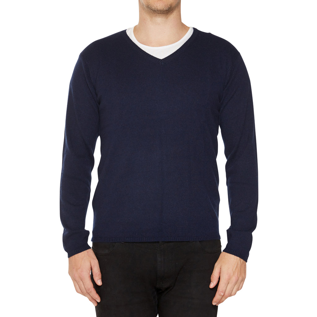 Cashmere Joe Mens V-Neck in Navy - sonyahopkins.com