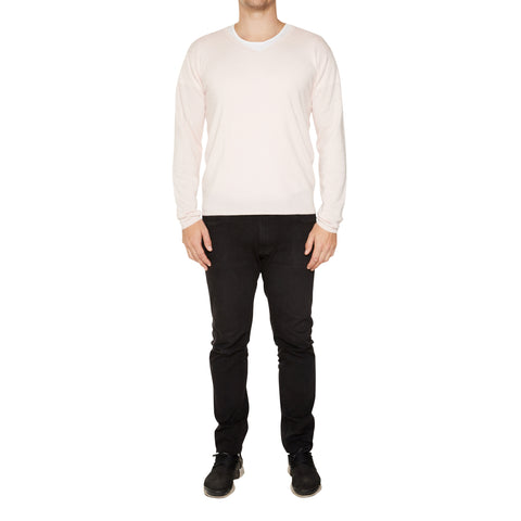 Joe Mens Cashmere V-Neck in Pale Pink - sonyahopkins.com