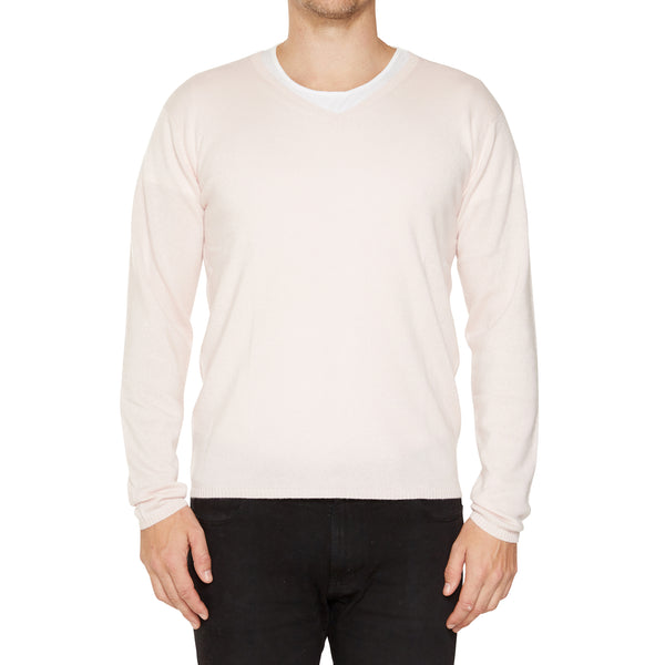 Cashmere Joe Mens V-Neck in Pale Pink - sonyahopkins.com
