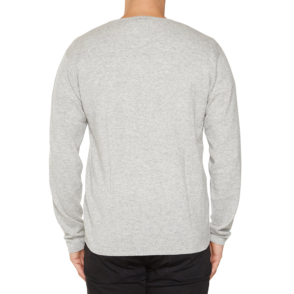 Cashmere Joe Mens V-Neck in Pale Marle Grey - sonyahopkins.com