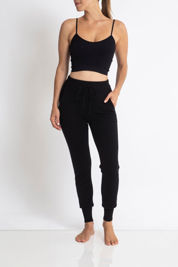 Sonya Hopkins 100% pure cashmere track pants in black