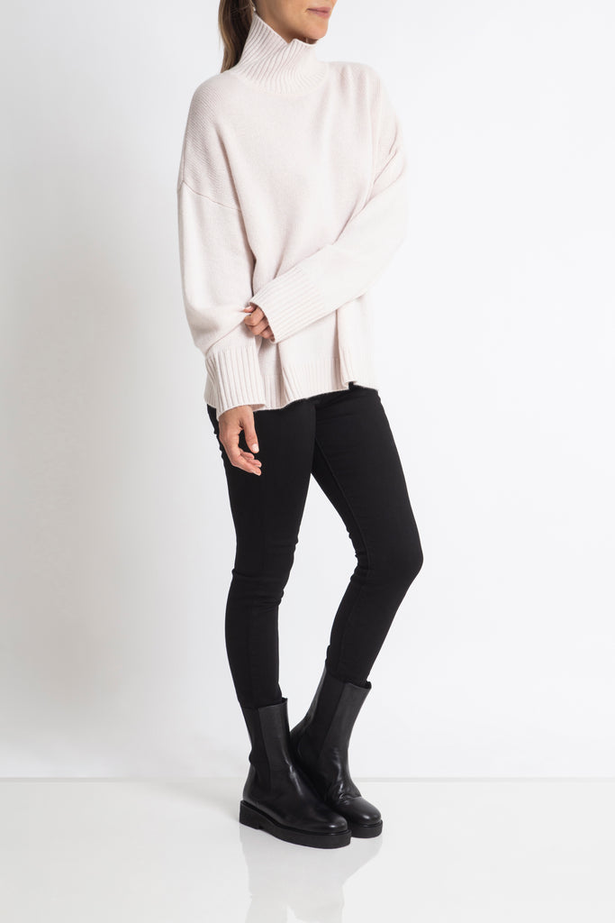 Sonya Hopkins 100% cashmere Sunday Sweater in Pearl