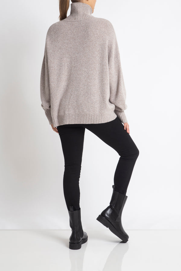 Sonya Hopkins 100% cashmere oversized Sunday knit turtleneck in barley