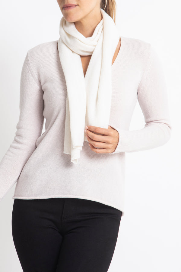 Sonya Hopkins 100% Pure Cashmere scarf in winter white