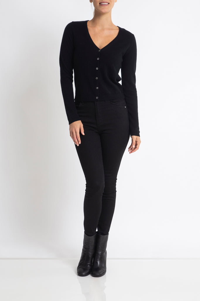 Sonya Hopkins pure cashmere v-neck cardigan in classic black