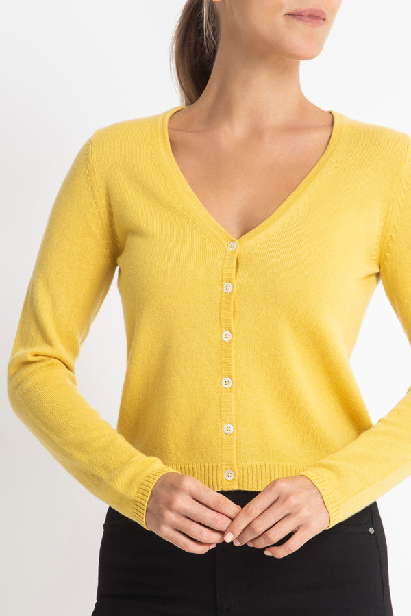 Cashmere Rhian V-neck Cardigan in Buttercup