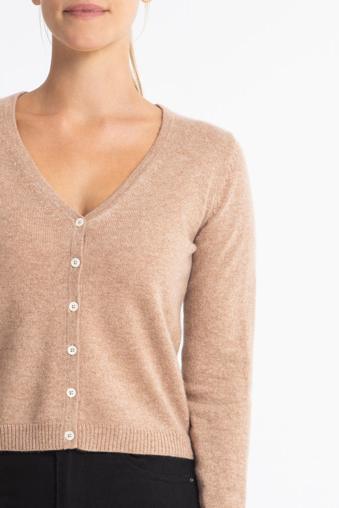 Cashmere Rhian V-neck Cardigan in Honeycomb