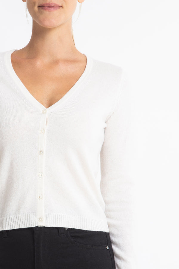Cashmere Rhian V-neck Cardigan in Winter White