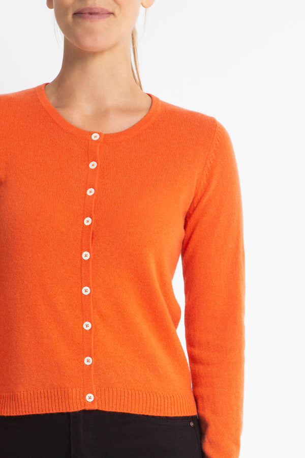 Sonya Hopkins 100% pure cashmere crew cardigan in tangerine