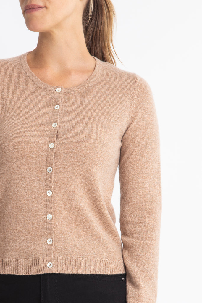 Sonya Hopkins 100% pure cashmere crew cardigan in honeycomb