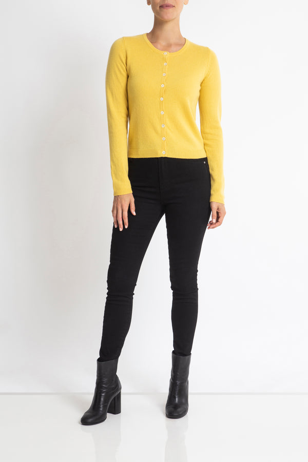 Sonya Hopkins 100% pure cashmere crew cardigan in buttercup yellow