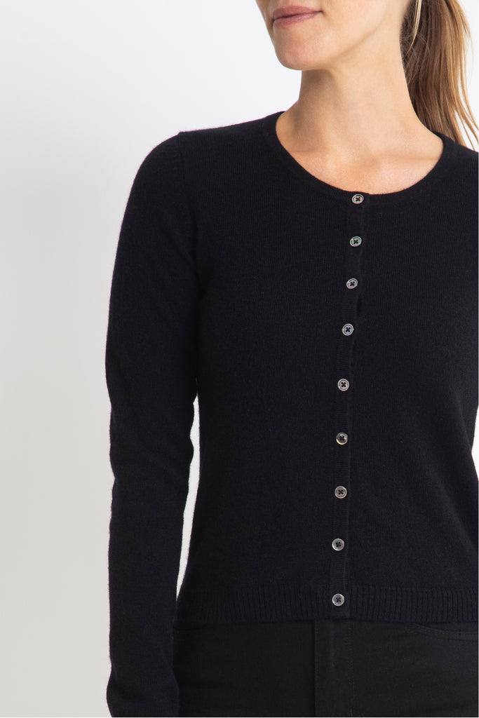 Sonya Hopkins 100% pure cashmere crew cardigan in black