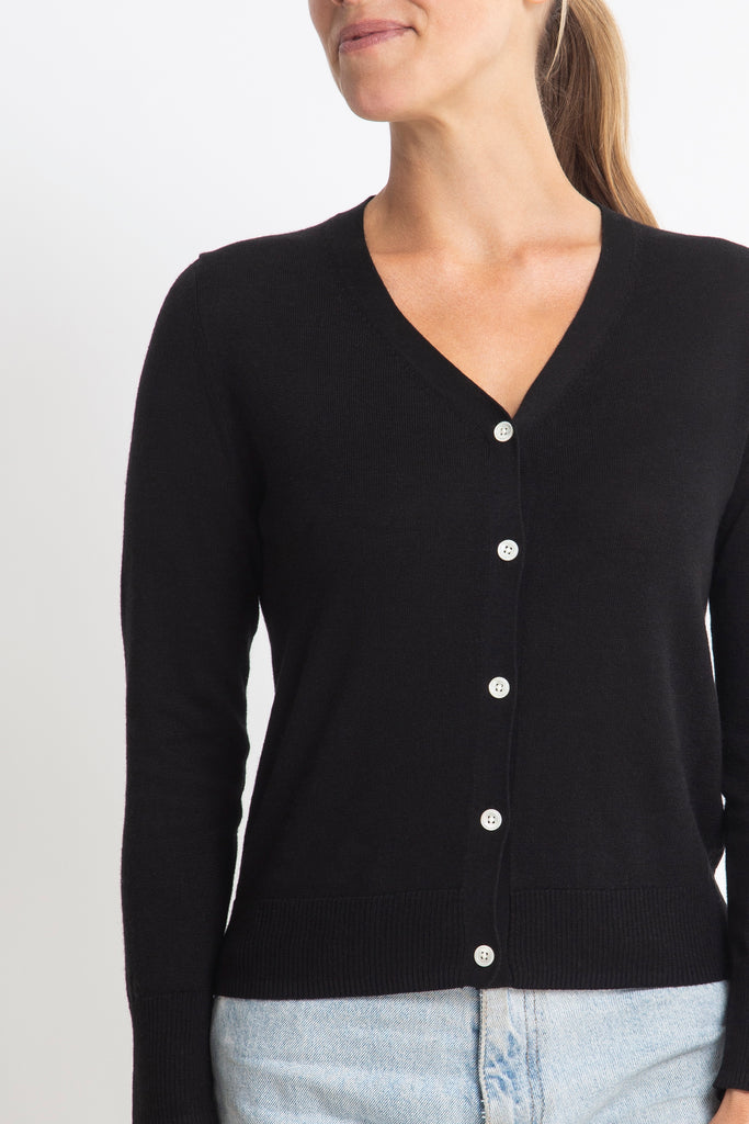 Sonya Hopkins 95% cotton 5% cashmere Superfine v-neck cardigan in black