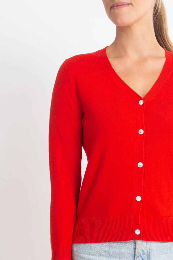 Sonya Hopkins 95% cotton 5% cashmere superfine v-neck cardigan in red