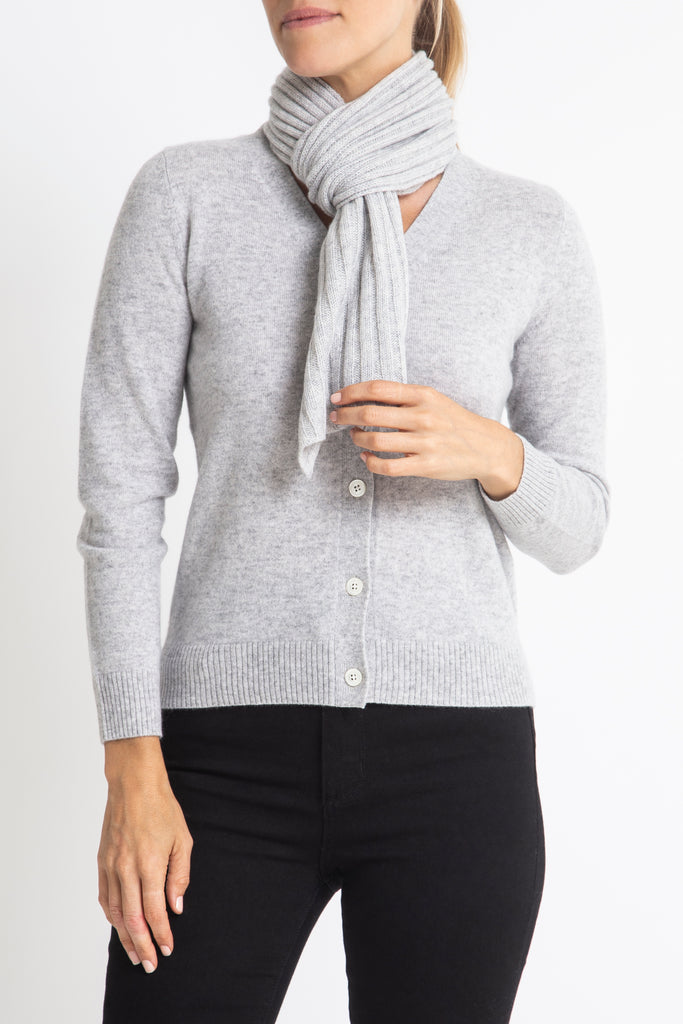 Sonya Hopkins 100% pure cashmere rib scarf in pale marle grey