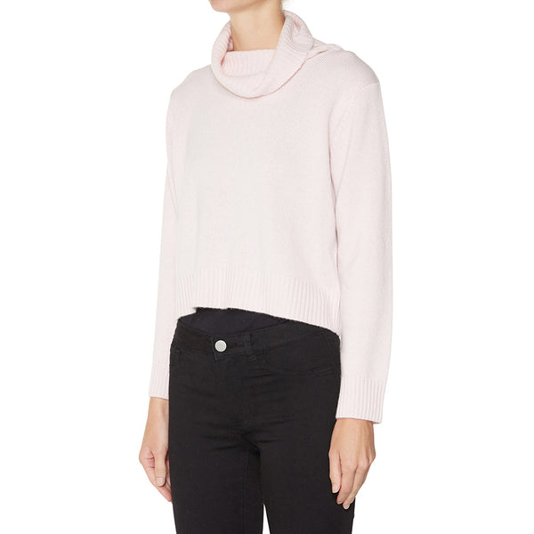 Cashmere Rebecca Cropped Turtleneck in Powder Pink - sonyahopkins.com