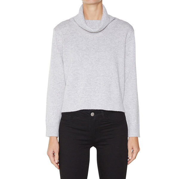 Cashmere Rebecca Cropped Turtleneck in Pale Marle Grey - sonyahopkins.com