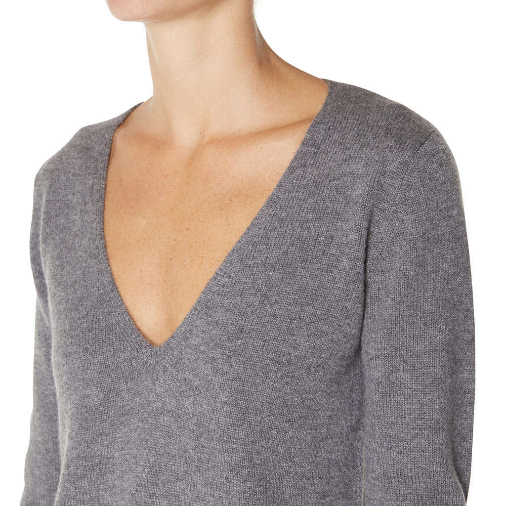 Cashmere Megan Low V-neck in Charcoal Marle Grey - sonyahopkins.com