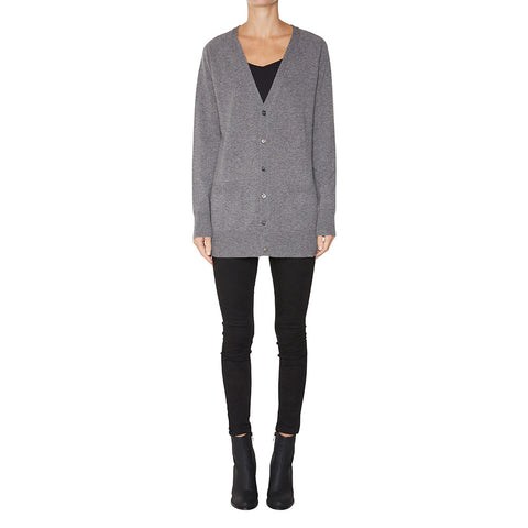 Cashmere James Boyfriend Cardigan in Charcoal Marle Grey - sonyahopkins.com