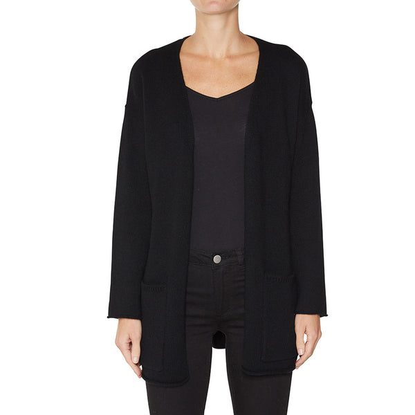 Cashmere Madison Cardigan in Black - sonyahopkins.com