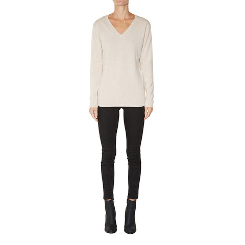 Classic V-Neck in Pale Marle Beige - sonyahopkins.com