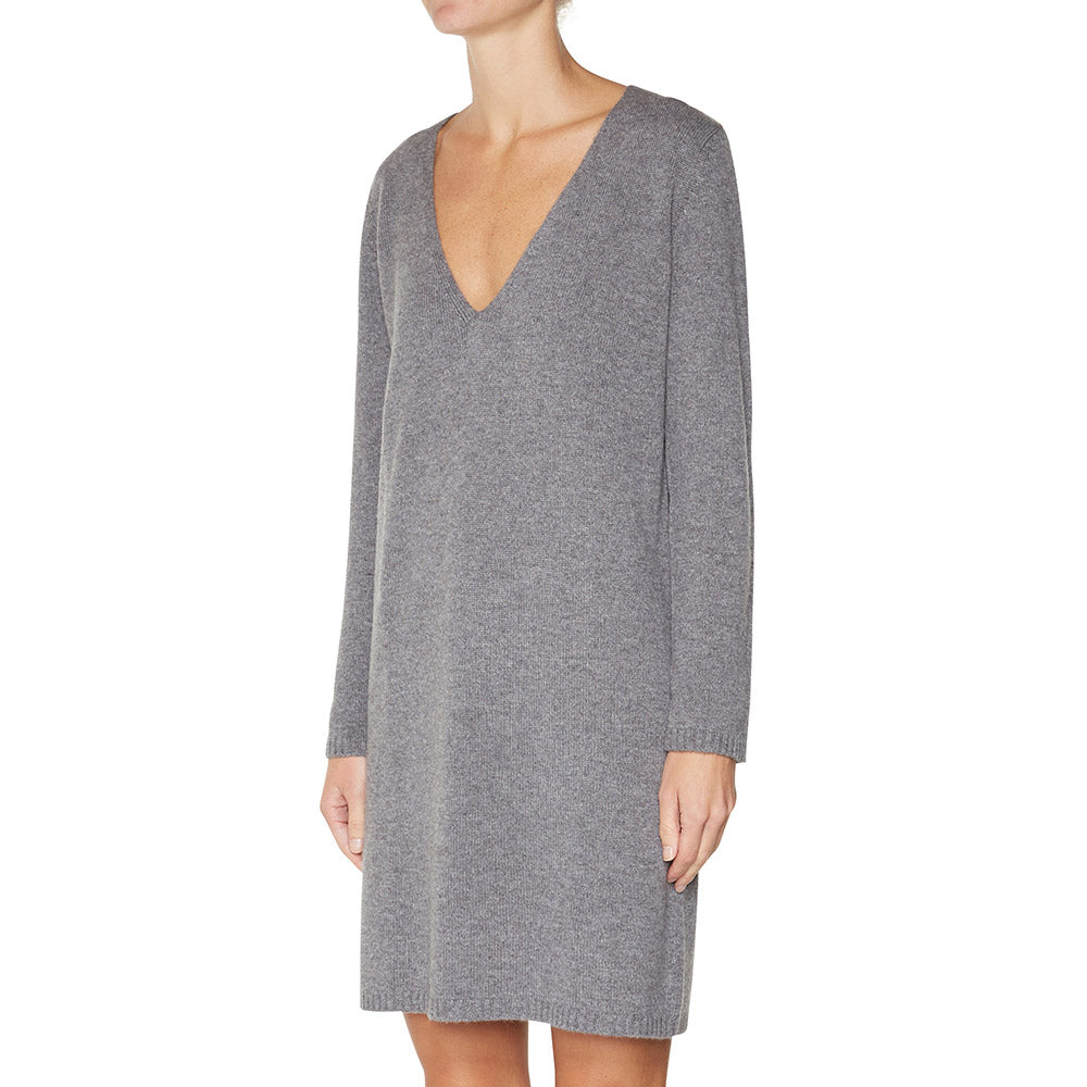 Cashmere Evie V-neck Sweater Dress in Charcoal Marle Grey - sonyahopkins.com