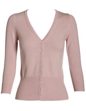 Silk + Cashmere Audrey Cardigan in Pale Pink - sonyahopkins.com