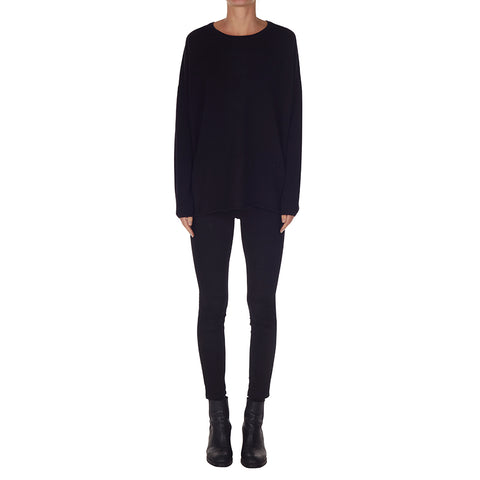 luxury pure cashmere oversized boxy scoop neck knit in black