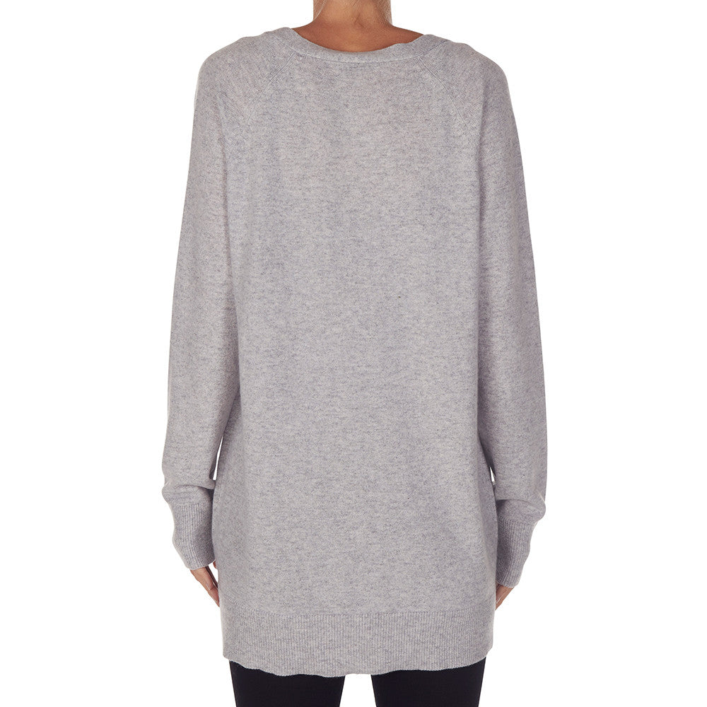 Cashmere James Boyfriend Cardigan in Pale Marle Grey - sonyahopkins.com