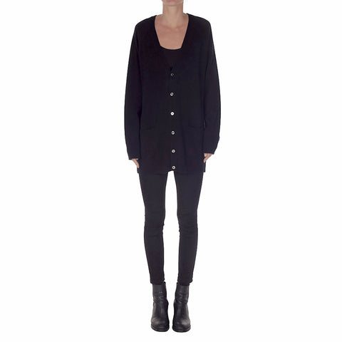 Cashmere James Boyfriend Cardigan in Black - sonyahopkins.com