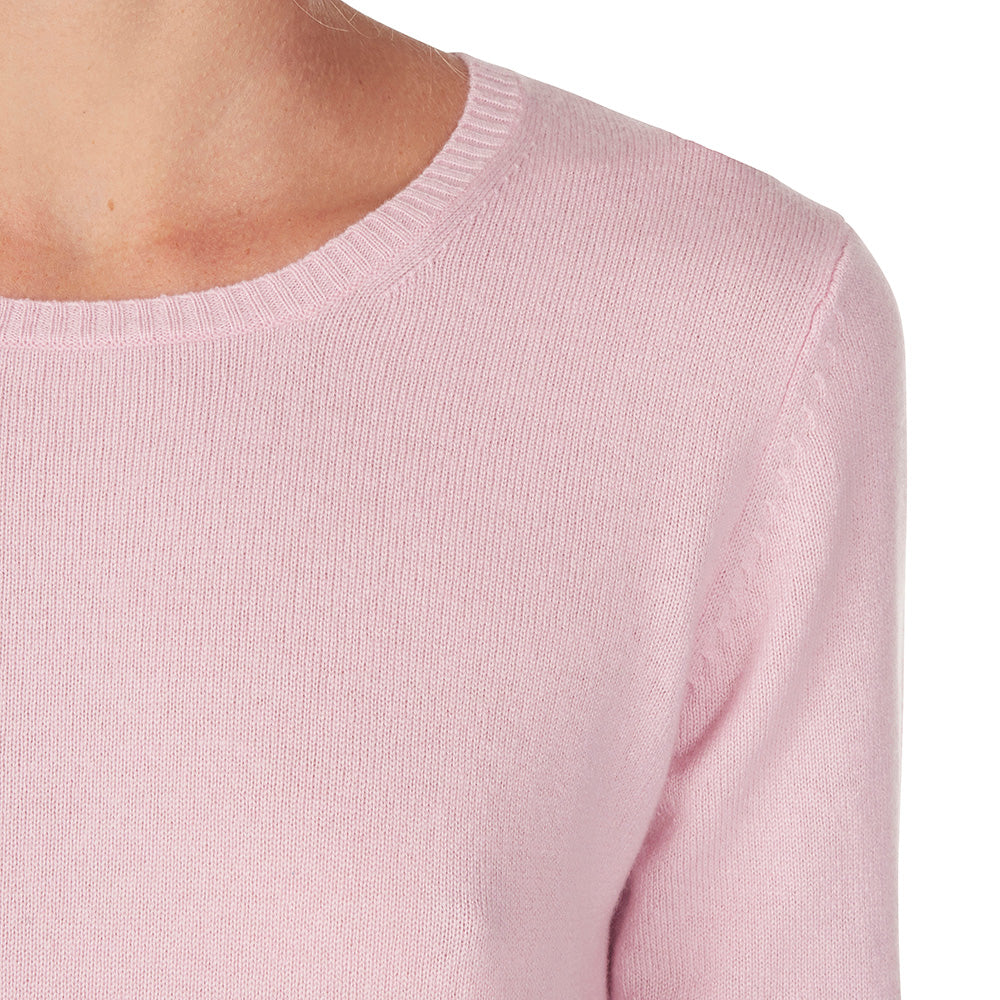 Sonya Hopkins Daisy crew neck knit in blossom pink is a 100% cashmere classic fine knit