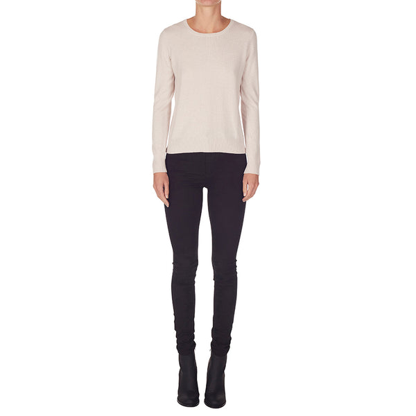 Cashmere Daisy Crew Neck in Blush - sonyahopkins.com