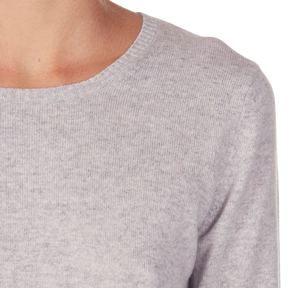 Cashmere Daisy Crew Neck in Pale Marle Grey - sonyahopkins.com