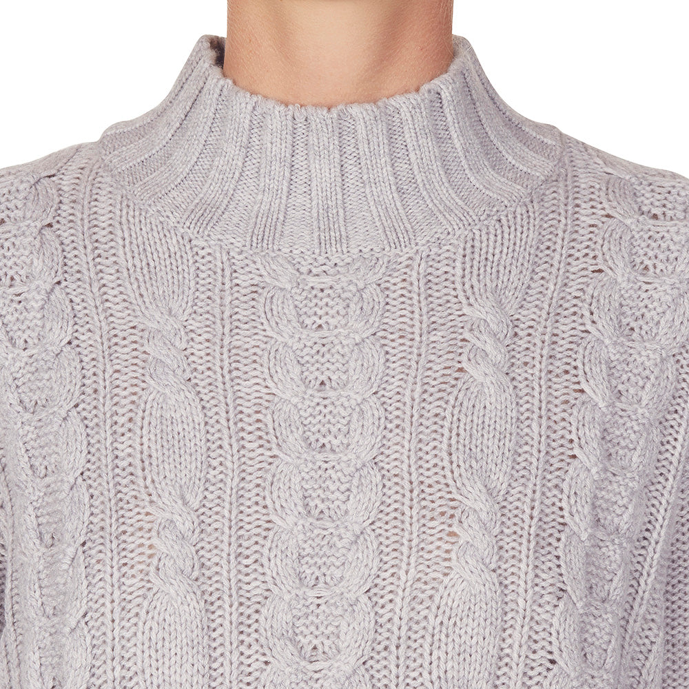 Cashmere Lauren Cable knit in Pale Marle Grey - sonyahopkins.com